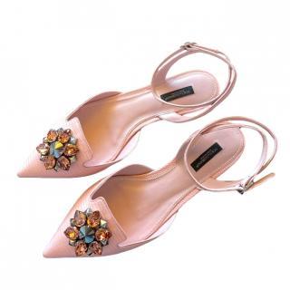Dolce & Gabbana Blush Lizard Print Crystal Embellished Sandals