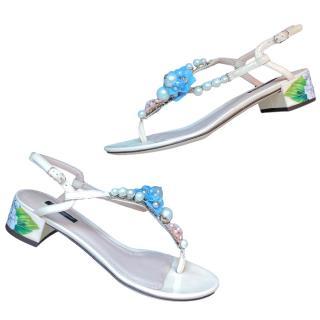 Dolce & Gabbana Pearl & Enamel Hydrangea Print Sandals