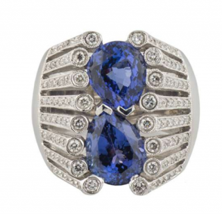 Bespoke White Gold Diamond & Tanzanite Ring