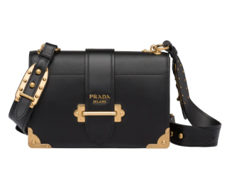 Prada Black Leather Cahier Shoulder Bag