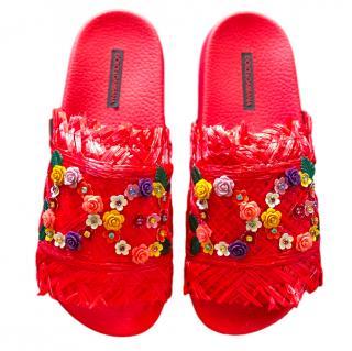 Dolce & Gabbana Red Raffia Crystal Slides