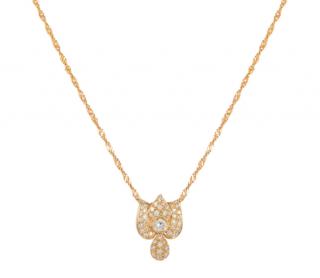 Bespoke Yellow Gold Diamond Floral Pendant