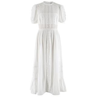 Self Portrait White Cotton Blend Maxi Dress with Lace Trim