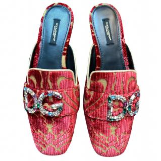 Dolce & Gabbana Red Jacquard Crystal DG Slippers