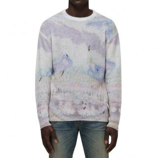 Amiri Tie-Dye Distressed Cashmere Sweater