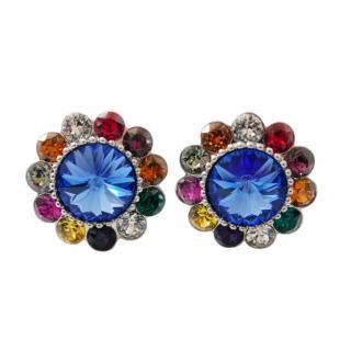 Miu Miu Crystal Floral Clip-On Earrings