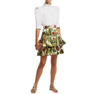 Dolce & Gabbana Fig Print Tiered Skirt