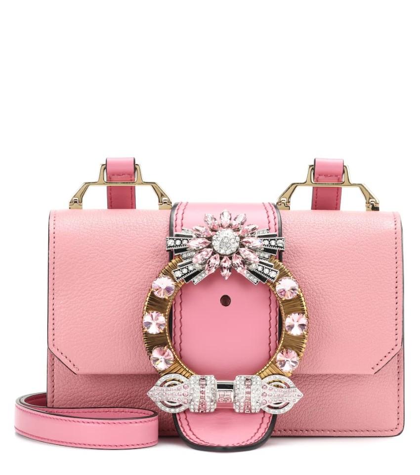 Miu Miu Crystal-embellished Madras Leather Shoulder Bag