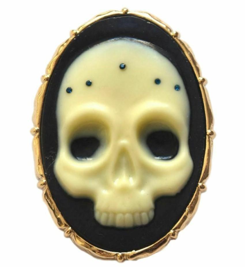Alexis Bittar Gothic Skull Pin Brooch