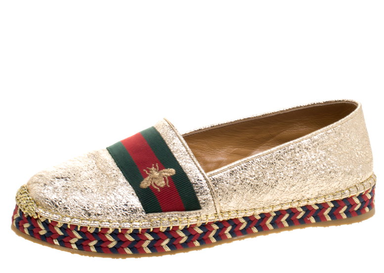 Gucci Metallic Crackled Gold Leather Web Stripe Espadrilles