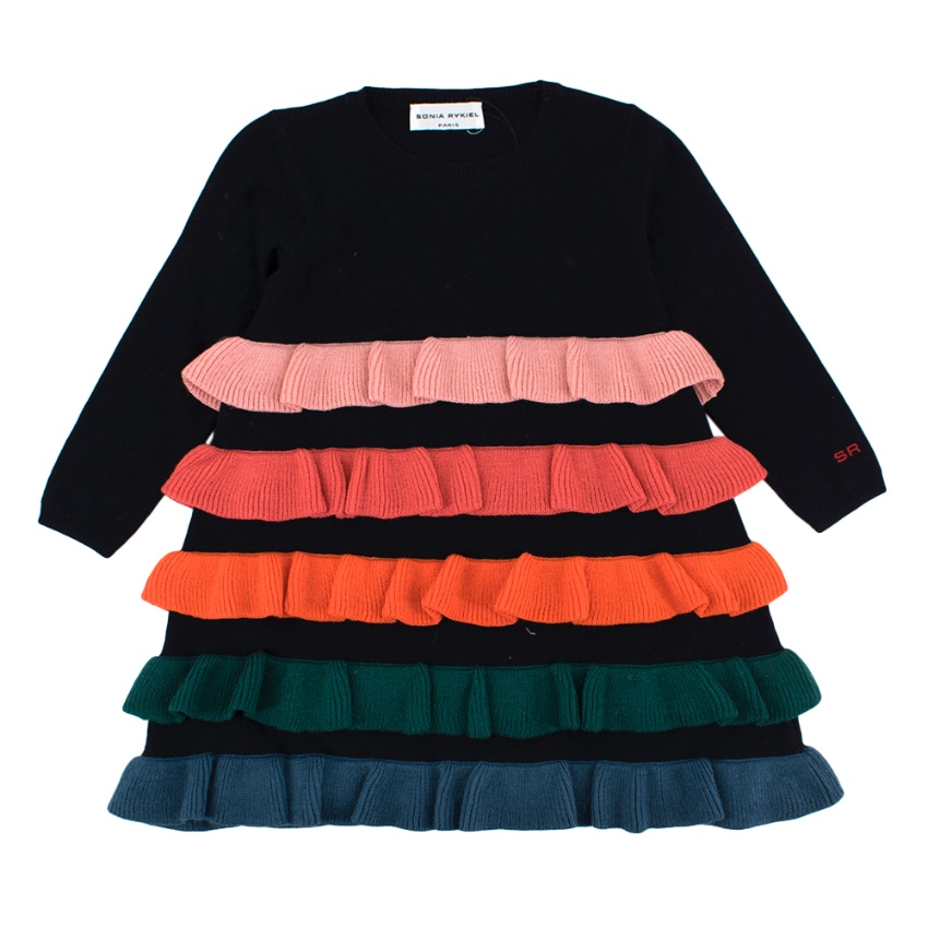 Sonia Rykiel Wool Dress with Mutlicolour Tiered Ruffles