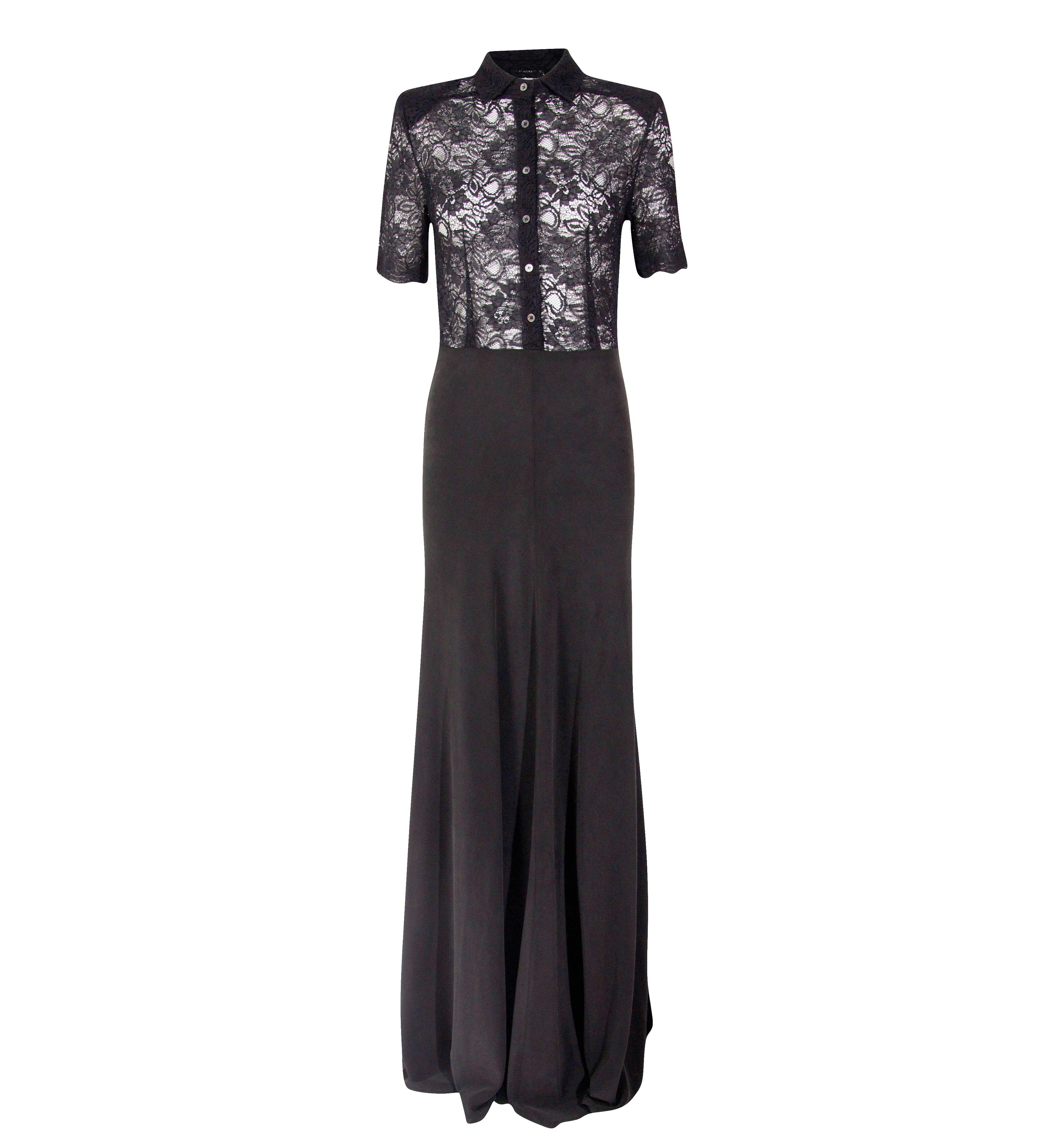 Ganni Black Camellia Lace Dress