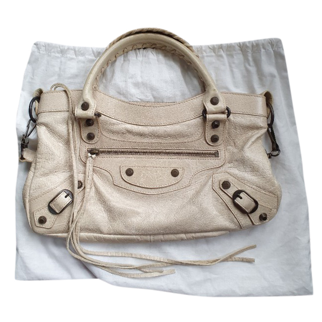 Balenciaga small cream moto bag