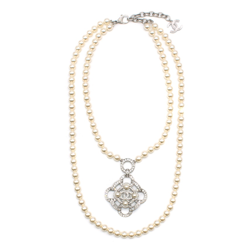 Chanel Faux Pearl & Crystal Camellia Pendant Necklace
