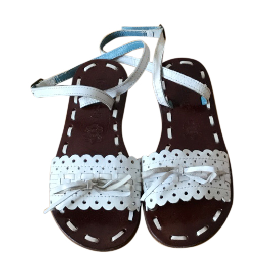 Cacharel kids white leather sandals