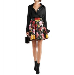 Dolce & Gabbana Rose Print Pleated Mini Skirt