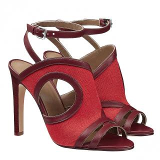 Hermes Cut-Out Rafaella Bordeaux Sandals