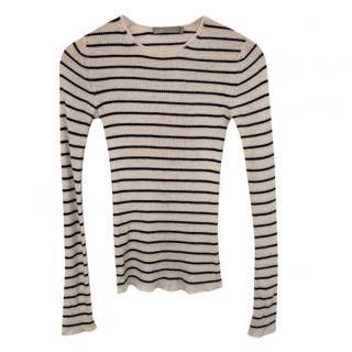 Vince Black & White Striped Knit Top