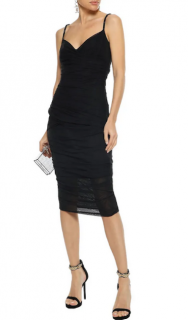 Versace Black Fitted Tulle Midi Dress