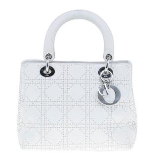Dior White Studded Leather Medium Lady Dior Bag