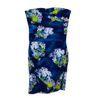 Samantha Sung Blue Floral Strapless Dress