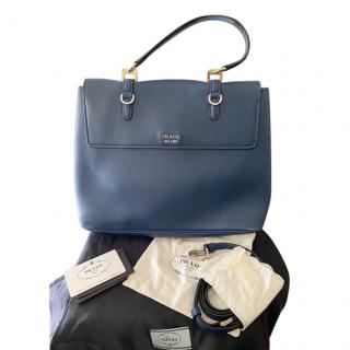 Prada Navy Blue Leather Satchel Bag