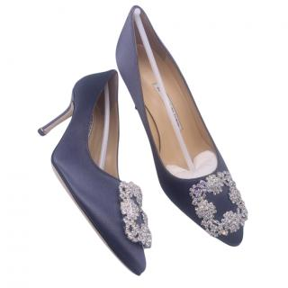 Manolo Blahnik Blue-Grey Hangisi 70 Satin Pumps