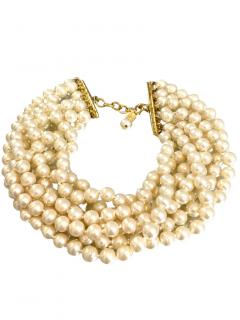 Chanel Vintage Gold Plated Multi-Strand Pearl CHoker