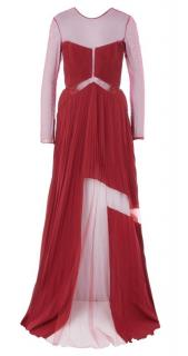 Versace Red Sheer Panelled Gown