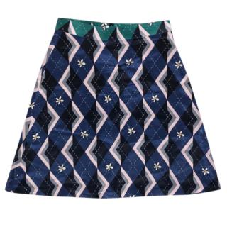 Markus Lupfer Geometric Floral Print Skirt