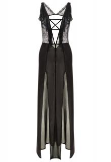 La Perla Black silk georgette night dress with lurex embroidery