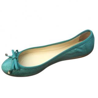 Max Mara Turquoise Snake Print Ballerina Flats