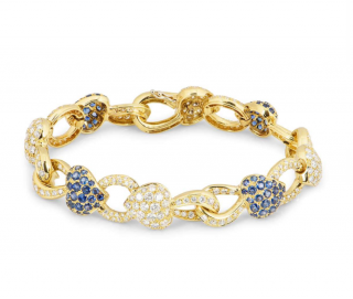 Bespoke Sapphire & Diamond Heart Link Yellow Gold Bracelet