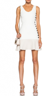 Victoria Beckham White & Pale Pink Button Detailed Mini Dress