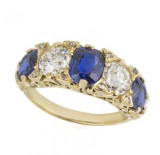 Bespoke 18k Yellow Gold Sapphire & Diamond Ring