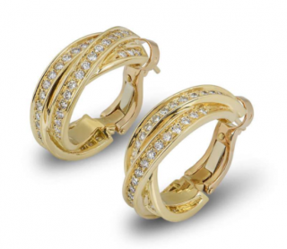 Cartier Yellow Gold Diamond Cross Hoop Earrings