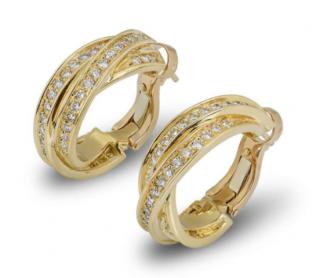 Cartier Yellow Gold Diamond Cross Hoop Earrings