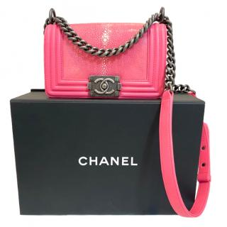 Chanel Pink Stingray Boy Bag