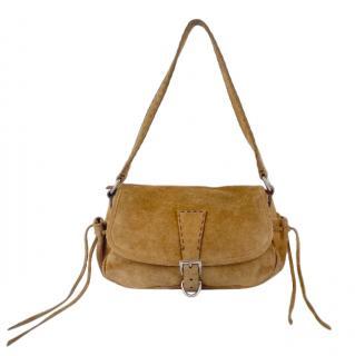 Prada Tan Suede Vintage Shoulder Bag
