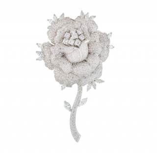 Bespoke White Gold Diamond Rose Brooch