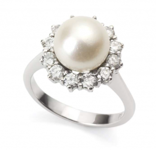 Bespoke Pearl and Diamond Cluster Ring