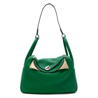 Hermes Vert Veronese Clemence Leather Lindy 30 with Crocodile Strap