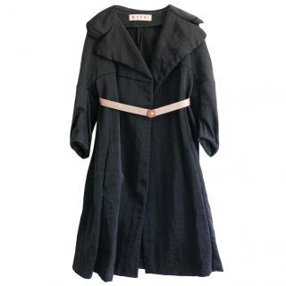 Marni charcoal black taffeta duster coat