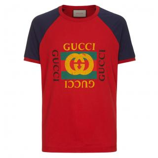 Gucci Red Logo Modern Future Motif T-shirt