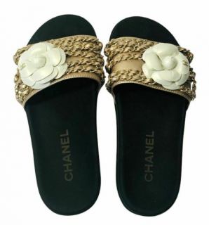 Chanel Black & Gold Chain Trim Slides