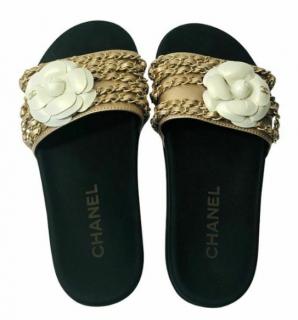 Chanel Black & Gold Chain Trim Slides
