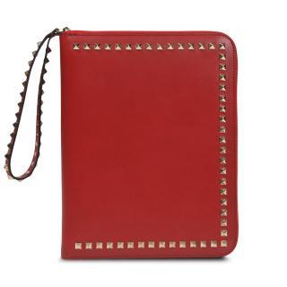 Valentino Red Rockstud Zip-Around iPad Case