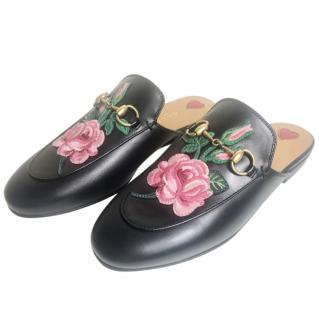 Gucci Black Leather Embroidered Floral Princetown Slippers