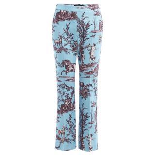 Max Mara Blue Cotton Pique Cigarette Pants