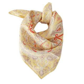 Etro Yellow Paisley Silk Scarf
